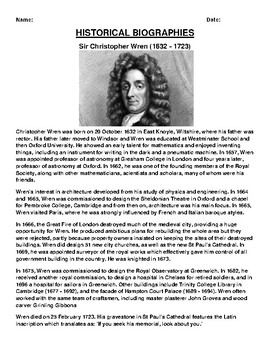 Sir Christopher Wren ( Biography Article and (3) Assignments