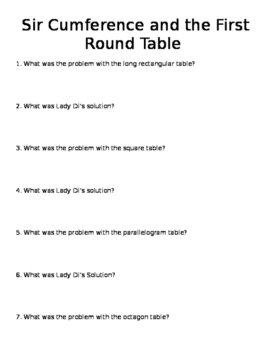 Sir Cumference and the First Round Table Reading Guide