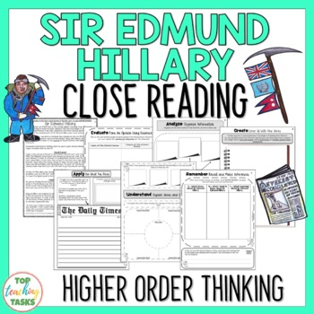 Sir Edmund Hillary Close Reading Passage and Higher Order Thinking Activities US