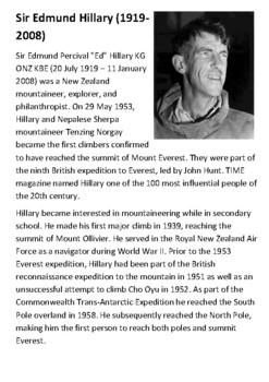 Sir Edmund Hillary Handout