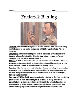 Sir Frederick Banting - Informational article lesson facts - 1st to use Insulin