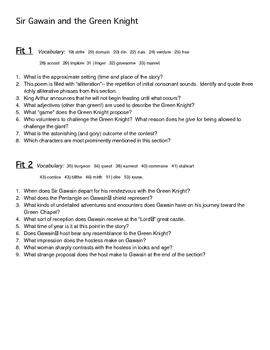 High School Experience Essay Sir Gawain And The Green Knight Study Questions High School Essay Sample also Essay Topics For High School English Sir Gawain And The Green Knight Study Questions By Larry B  Tpt How To Make A Good Thesis Statement For An Essay