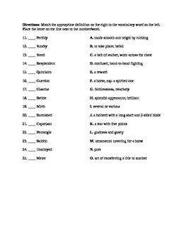 Sir Gawain and the Green Knight Vocab Quizzes (2) for Lists 1 & 2 (also on  site)