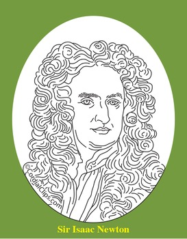 Sir Isaac Newton Clip Art, Coloring Page, or Mini-Poster