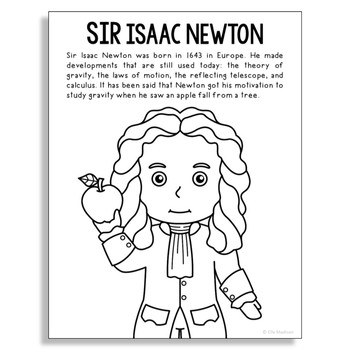SIR ISAAC NEWTON Inventor Coloring Page Craft or Poster, STEM Technology History