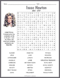 Isaac Newton Word Search Worksheet