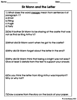 Sir Mann and the Letter: A Close Read for 4th Grade