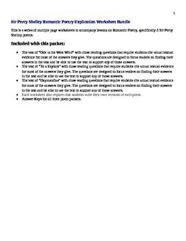 Sir Percy Shelley Romantic Poetry Explication Worksheet Bundle
