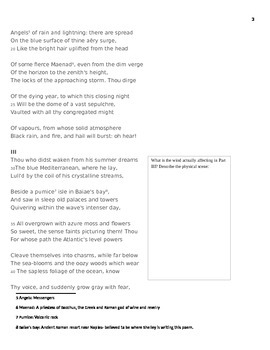 """Sir Percy Shelley Romantic Poetry Explication Worksheet """"Ode to the West Wind"""""""