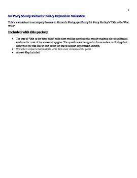 "Sir Percy Shelley Romantic Poetry Explication Worksheet ""O"