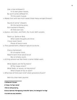 "Sir Percy Shelley Romantic Poetry Explication Worksheet ""To a Skylark"""