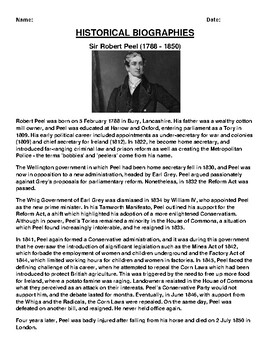 Sir Robert Peel  Biography Article and (3) Assignments