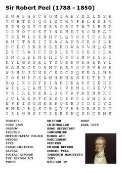 Sir Robert Peel Word Search