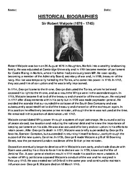 Sir Robert Walpole  Biography Article and (3) Assignments