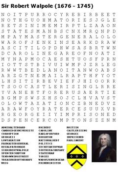 Sir Robert Walpole Word Search