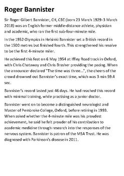Sir Roger Bannister Handout