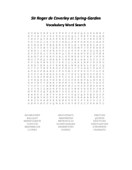 Sir Roger de Coverley at Spring Garden Vocabulary Word Search - Addison