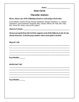 Sister Carrie - Character Analysis Activity - Theodore Dreiser
