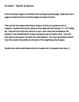 Sit Down Solving Inequalities Search and Rescue