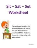 Sit - Sat - Set Worksheet for Grades 6-9