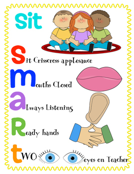 Behavior Management Sit Smart Anchor Chart Freebie