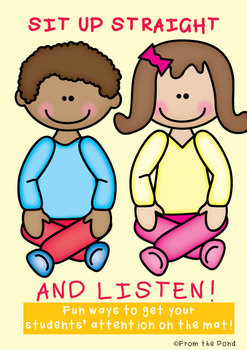 Listening Lesson {Sit Up Straight and Listen} - Lesson + Action Rhymes