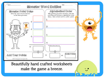 Site Word ELA Center (1st-3rd Grade) Monster Site Word Battle Game/Center