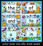Site Word Flash Cards: Color Your Own Cards!| 100 Words! |