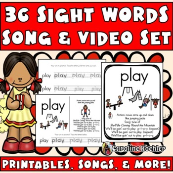 Sight Word (Popcorn) Songs BUNDLE:Posters, Flashcards, Writing Pages & Audio