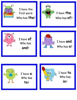 Site Words Card Game with Monster Theme