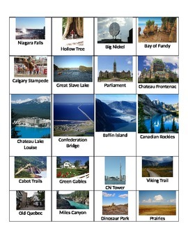 Sites Touristiques du Canada (Activitie)/Canadian Touristic Sites (Activity)