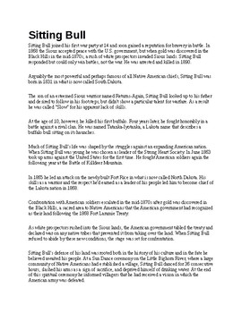 Sitting Bull Biography and Assignment