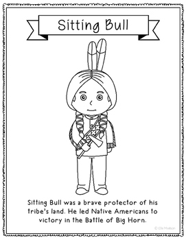 Sitting Bull Coloring Page Activity or Poster with Biograp