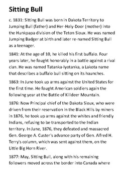 Sitting Bull Timeline and Quotes