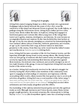 Sitting Bull and George Custer Biographies with Reading Comprehension Questions