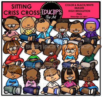 Sitting Criss Cross Clip Art Bundle {Educlips Clipart}