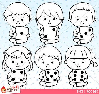 Sitting Dice Kids Clip Art