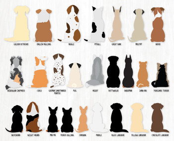Sitting Dogs From Behind - 25 Breeds - Hi Res PNG Graphics