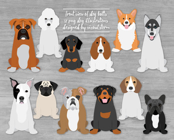 Sitting Dogs - Front View of Dog Butt Illustrations