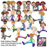 Sitting Kids Clipart - Children Clip art - Inc Blackline