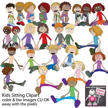 Sitting Kids Clipart - Children Clip art - Inc Blackline