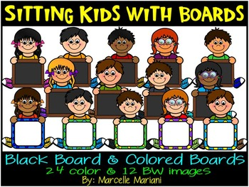 kids holding boards- kids with signs clip art- sitting kids with boards