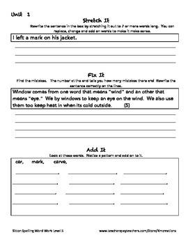 Sitton Spelling Homework Word Work Grade 5 Level 5