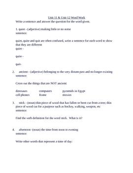 Sitton Spelling U11 & U12 Word Work
