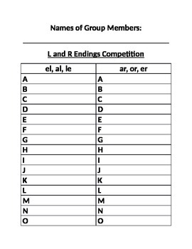 Sitton Spelling Unit 17 L and R Endings