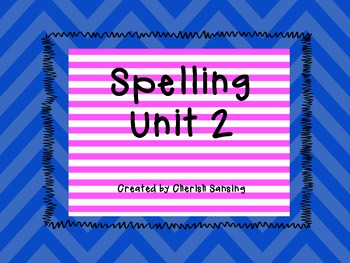Sitton Spelling Unit 2 Printable