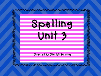 Sitton Spelling Unit 3 Printable