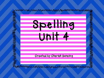 Sitton Spelling Unit 4 Printable