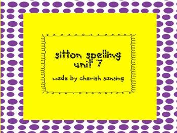 Sitton Spelling Unit 7 Printable
