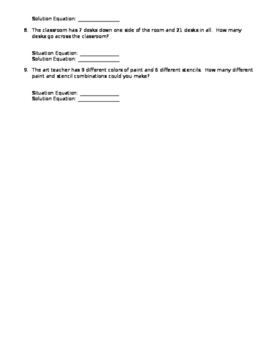 Situation and Solution Equations Worksheet